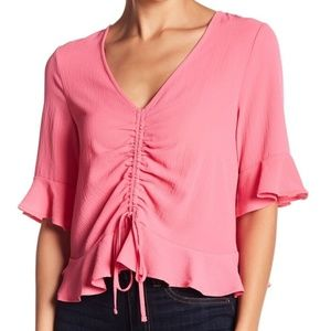 Elodie Pink Cropped Ruffle Blouse